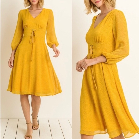 Dresses & Skirts - Yellow Chiffon Dress